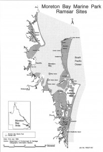 Map of internationally recognised RAMSAR wetlands in the Moreton Bay region.