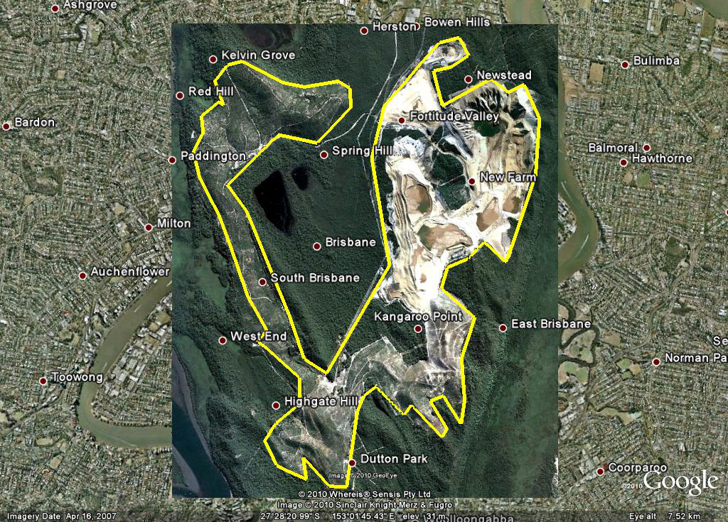 The Enterprise mine, overlayed on central Brisbane, shows the huge size of the mine.