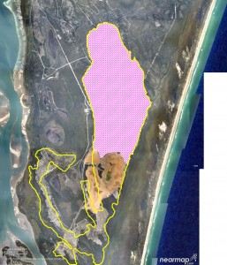 The pink shows the area which would be mined if sandmining is allowed to continue on Stradbroke Island.