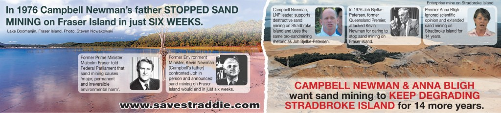 Campbell Newman supports destructive sand mining on Straddie