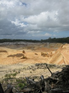 destructive sand mining on Stradbroke Island