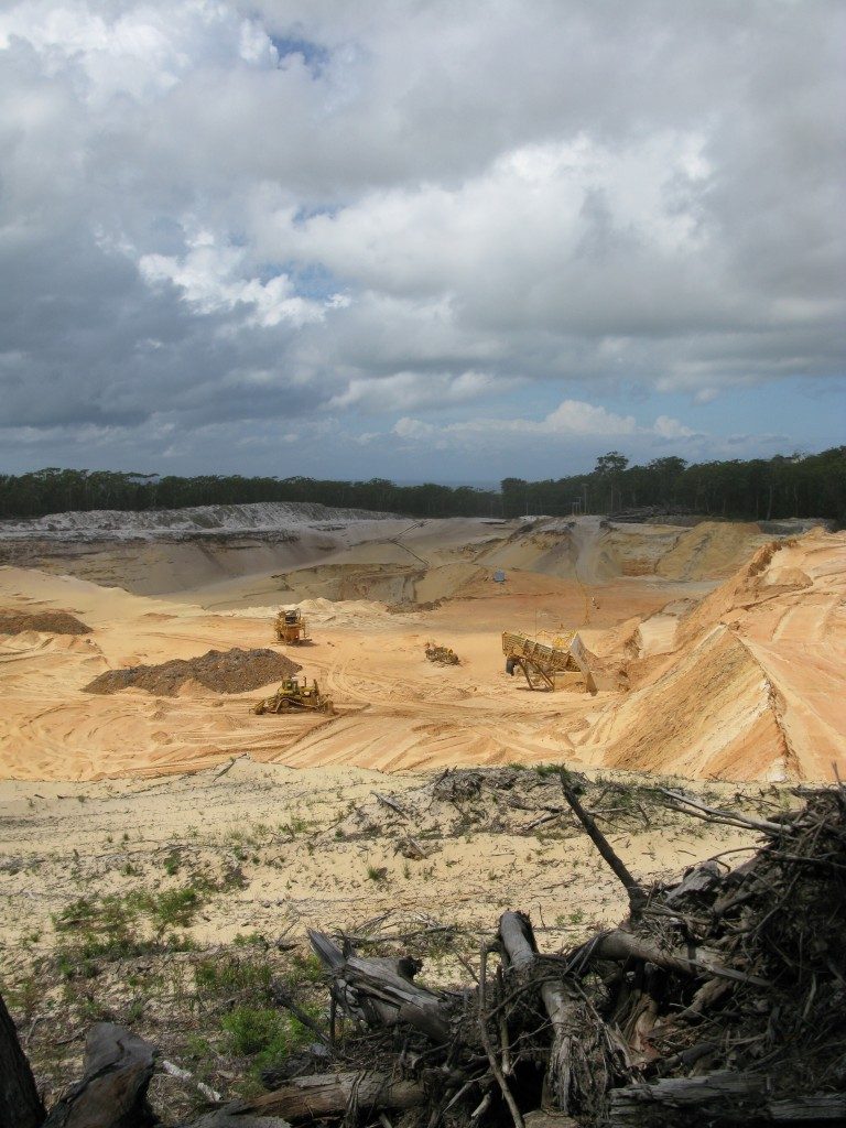 destructive sand mining on Stradbroke Island