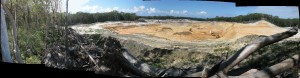 Destruciton of old-growth forest for open cut sandmining near Point Lookout , North Stradbroke Island 2011.